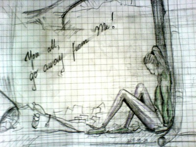 Mano pieštas, gal nelabai gerai, bet norėjau parodyti kokia mano savijauta šiandien... ;((